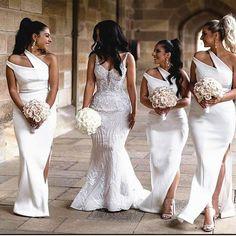 African Bridesmaid Dresses, One Shoulder Bridesmaid Dresses, Mermaid Bridesmaid Dresses, Mermaid Dresses, White Bridesmaid Dresses Long, White Brides Maid Dresses, Bridesmaids, Wedding Party Dresses, Wedding Attire