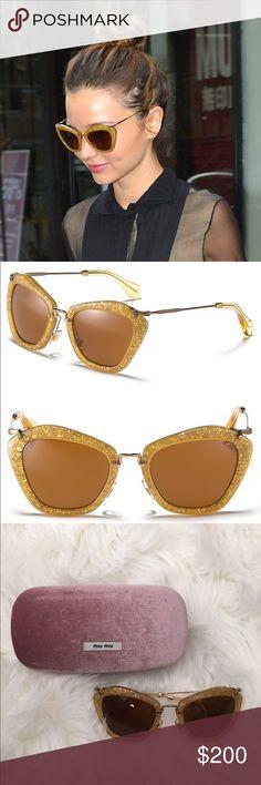 Miu-miu gold glitter sunglasses NWOT make an offer Super adorable trendy and stylish Miu-miu sunglasses! Shipped with original hard case, soft cloth case, and cleaning cloth. Never worn! ***NO RETAIL TAGS... Cheaper on MERC Miu Miu Accessories Sunglasses