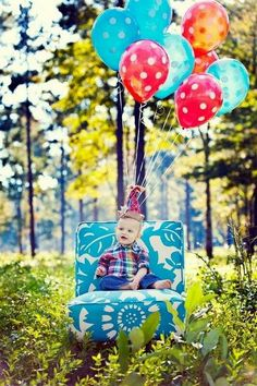 baby birthday.. Love the color coordination of chair and balloons.
