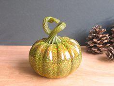 Blown Glass Pumpkin / Art Glass Sculpture / Autumn Fall Home Decor