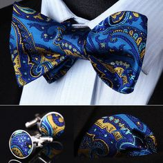 Pre-Tied Bow Tie Premium Quality Blue Paisley PN35