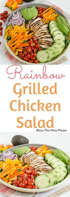 Rainbow Grilled Chicken Salad - this healthy meal is loaded with veggies and chicken! You can easily prep this salad ahead of time and throw it together in time for dinner or put it in a jar for lunch #chicken #salad #healthy #saladinajar #blessthismessplease
