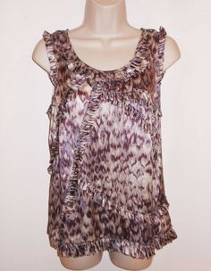 J CREW 100% Silk 4 6 Evie Top Purple Gray White Ruffle Blouse Sleeveless #JCREW #Blouse