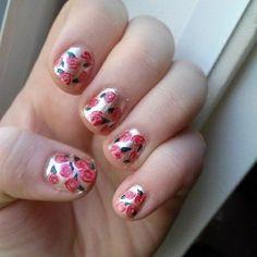 metallic floral nail art. For more nail art ideas, visit www.nailartbank.com