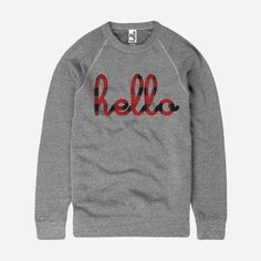 We are obsessed with this Hello Buffalo Plaid (Adult) Eco-Grey Champ Pullover! #helloapparel