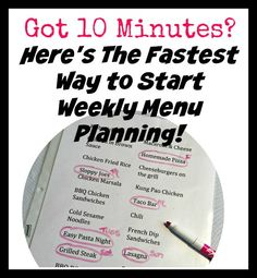 Got 10 Minutes Here's The Fastest Way to Start Weekly Menu Planning!