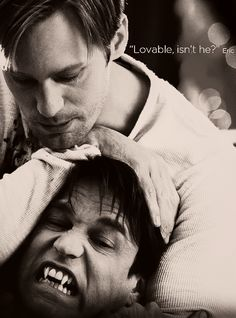 "Eric Northman almost kills Bill Compton! True Blood quote - ""Lovable, isn't he?"" - Eric to Sookie. Bill True Blood, True Blood Series, Hemlock Grove, True Blood Quotes, Vampire Diaries, Vampire Shows, Vampire Pictures, Vampires And Werewolves, Eric Northman"