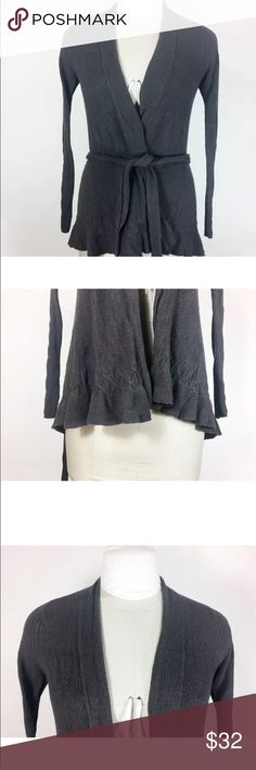 "Anthro Sparrow Gray Ruffle Cardigan Sweater Long Anthropologie Sparrow Gray Sweater Ruffle Cardigan Long Tie Waist Size Small  55% Cotton// 40% Nylon/ 5 % Cashmere  Gently worn. No flaws.  Pit to pit (doubled)- 34""  Length- Top of Shoulder to Bottom Hem- 27""  Sleeve length- Shoulder Seam to Cuff- 26""  Shoulder to Shoulder- across the back- 14""  Please check your measurements before purchasing!   Bin#13 Anthropologie Sweaters"