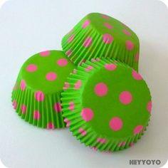 Green and Pink Polka Dot Cupcake Liners