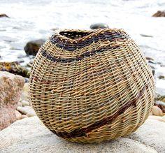 a diagonally woven basket.