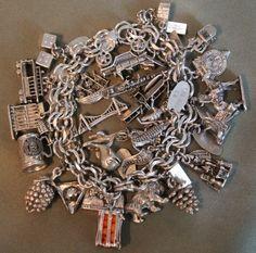 Vintage Sterling Silver Charm Bracelet 3D Charms Bell