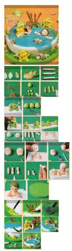 Step By Step fondant cake figures Deco Cupcake, Cupcake Cakes, Fondant Toppers, Fondant Cakes, Fondant People, Pool Cake, Decoration Patisserie, Cupcakes Decorados, Foundant