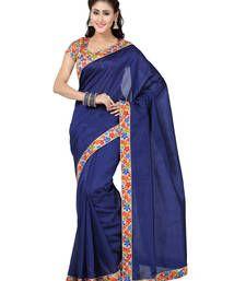 Buy blue plain art silk saree with blouses saree with blouse art-silk-saree online