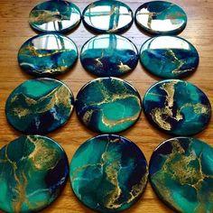 Made-to-Order Hand-Painted Wood Coaster set – Functional Art – Abstract Art – Resin Art – Coaster Art – Happy Vibes – Home Decor – Coaster art – epoxycraft Epoxy Resin Art, Diy Resin Art, Diy Resin Crafts, Glitter Crafts, Stick Crafts, Acrylic Resin, Art Crafts, Coaster Art, Art Diy