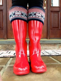 I own a pair of bright fire engine red hunter boots just like the ones pictures here. Love those socks with the boots.