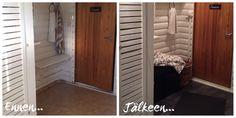 Saunan eteisen tuunausta - Lifestyle-blogi - Willa Lemmelle Tall Cabinet Storage, Furniture, Lifestyle, Home Decor, Decoration Home, Room Decor, Home Furnishings, Home Interior Design, Home Decoration