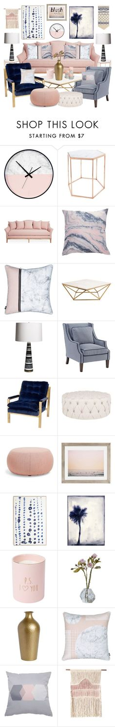 """Blush Marble Navy"" by leiastyle on Polyvore featuring interior, interiors, interior design, home, home decor, interior decorating, Bloomingville, Nuevo, Emporium Home and Arper"
