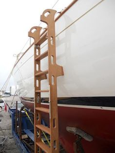 Our boatwrights constructed a custom boarding ladder based on a WoodenBoat design. View the image gallery for this project. Boat Building, Building Design, Global Weather, Sailboat Interior, Boat Stuff, Dinghy, Boat Design, Small Boats, Wooden Boats