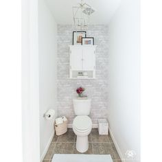 Toilet Room Makeover Reveal and Clever Bathroom Storage - Kelley Nan Farm Style Bathrooms, Small Half Bathrooms, Small Bathroom, Bathroom Ideas, Bathroom Inspo, Bathroom Designs, Bathroom Renovations, Shower Ideas, Clever Bathroom Storage