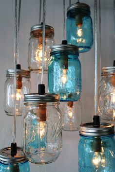 Mason Jar Cluster Chandelier - Upcycled Hanging Mason Jar Lighting Fixture - Blue  Clear Jars - Rustic BOOTSNGUS Lamps