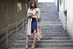 Burberry trench, DIY shirt, Sézane x La Redoute skirt and mini EnSoie bag. Via virginiepeny.com