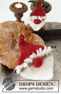"DROPS Christmas: Felted DROPS Santa Claus pot holder in ""Eskimo"". ~ DROPS Design"