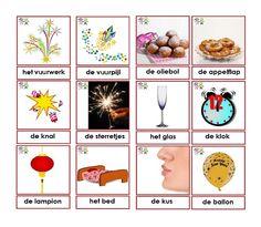 * Woordkaarten/memorie oud en nieuw! Learn Dutch, Dutch Language, New Year's Crafts, Jingle Bells, Xmas, Christmas, New Years Eve, Happy New Year, Advent Calendar