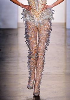 The Blonds, model, runway, haute couture, couture, fashion, high fashion, New York Fashion Week, fashion week, sequins, crystals, gemstones, beading, quartz, sparkles, glitter, sheer, icicles, diamonds, bodysuit, jewelry, detail, embroidery, The Blonds Couture, couturier, atelier, fashion designer, princess, fairy tale, Spring 2013,