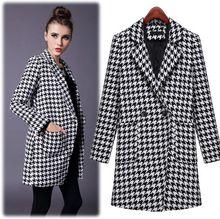 2014 новый зимнее пальто ломаную клетку шерсть шерстяное длинное пальто женские модели большой ярдов тонкий слой бесплатная доставка(China (Mainland))