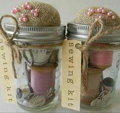 Gift Idea! Sewing Kit in a Jar.  Glue Pin Cushion to top of lid, fill jar with sewing goodies! (Tape Measure, Spools of Thread, Scissors, Sewing Needles, Thimble...  Choose different color themes based on Season/Holiday or gift recepients favorite color :)