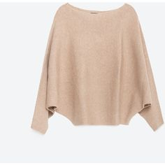 Zara Batwing Sweater (160 PLN) ❤ liked on Polyvore featuring tops, sweaters, blusas, haut, sand, batwing top, pink sweater, pink top, batwing sweater and shell tops