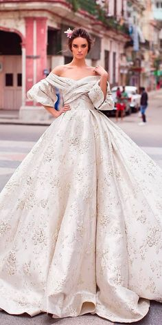 30 Ball Gown Wedding Dresses Fit For A Queen ❤ lace ball gown off the shoulder sweetheart neck with sleeves wedding dresses lorenzo ross ❤ See more: http://www.weddingforward.com/ball-gown-wedding-dresses/ #weddingforward #wedding #bride