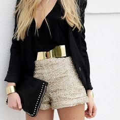 Gold high waisted shorts and black blazer. Great alternative to the minidress. Love the gold belt too.