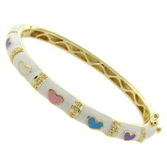 Lily Nily 18k Gold Overlay Enamel Multicolored Heart Design Bangle - White