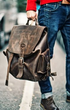 The Saddleback Leather Simple Backpack in Dark Coffee Brown. Look at the patina on that one!