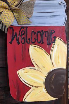 Wood Mason Jar Door Decoration by abossard on Etsy & Adorable mason jar burlap door hanger to welcome your guests in ...