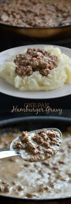 Recipe - One Pan Hamburger Gravy Recipe by http://the36thavenue.com Main dish, side dish, hamburger