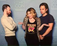 Chris and Seb with a fan at SLCC SEB'S FACE XD - Visit to grab an amazing super hero shirt now on sale!