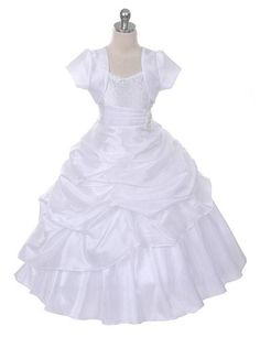 Stunning floor-length white princess dress with bolero! ~ Perfect for flower girls, first communion, wedding ~ Made in the USA (sz.2-16)