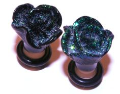 4g (5mm) Gauges Cute Girly Plugs Little Glittery Sparkly Black Rose Flower Earrings for Stretched Ear Piercings (Acrylic, with o-rings). $14.99, via Etsy.