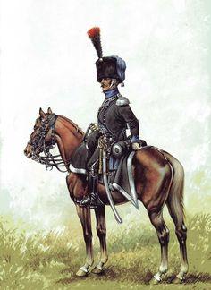 Ufficiale dei cacciatori della linea francese Military Art, Military History, First French Empire, French Pictures, Military Costumes, Napoleonic Wars, Modern Warfare, Illustration, Horses