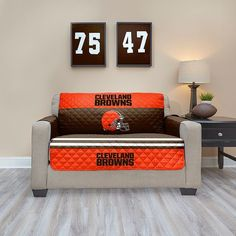 Cleveland Browns Quilted Loveseat Cover, Multicolor