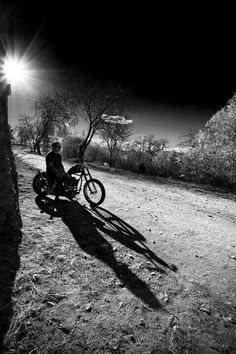 the road and a motorbike ...