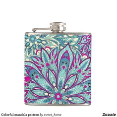 Colorful mandala pattern flask  #Home #decor #Room #Interior #decorating #Idea #Styles #Traditional #Boho #Indian #Vintage #floral #motif