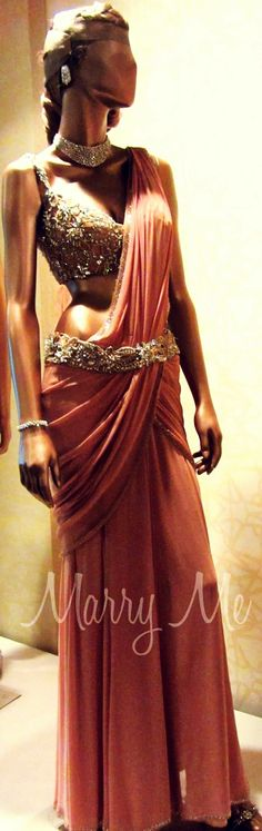 Love the waist belt & blouse on stunning designer #Saree ~