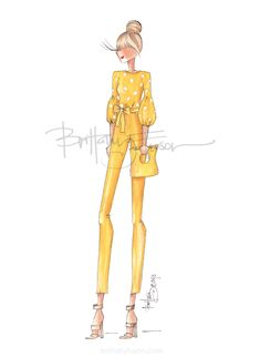 Brittany Fuson: Sunshine | fashion illustration | polka dots | tie waist trousers | spring dressing