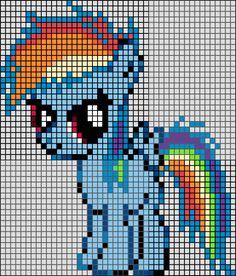 Patron / Pattern : My Little Pony - Rainbow Dash en Perle HAMA (Mini) Taille de la grille 46 x 50 (soit environ 11,5 x 12,5 cm) Nombre de perles totales : 1176 (sans le fond, que le petit poney) Patron : Couleurs Hama (Mini) :