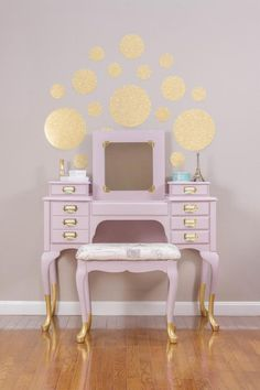 SOLD - Gold Dipped Rose Pink French Vanity/Dressing Table with Matching Stool Refurbished Furniture, Paint Furniture, Upcycled Furniture, Furniture Projects, Furniture Making, Furniture Makeover, Furniture Vanity, Furniture Online, Unique Furniture