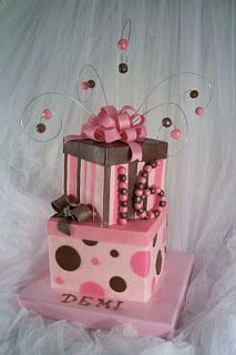 Pink & brown gift present cake, topped with pink bow. Parties Cakes for Fifteen Years, Part 2