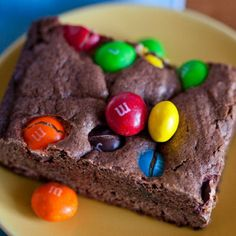 M&M'S Peanut Butter Brownies, great but i'd probably do it without the peanut butter